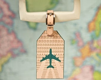 Airplane Leather Luggage Tag // Letterpress