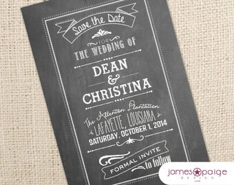 Chalkboard Save the Date Digital Design - 4x6 or 5x7