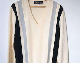 Sweater Vintage Men's Golf Pullover Beige Navy Grey Slouchy Knit Striped V Neck Sweater 1970's Size Extra Large