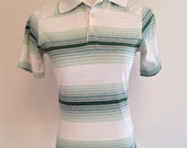 1970s Women's Green Ombre Striped Polo Shirt Made in U.S.A. Small S