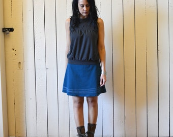 Sale, Small, Jersey Line Skirt, Teal Blue, Cotton Jersey, aline, modern style- ready to ship