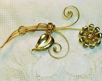 Vintage Harry Iskin Gold Vermeil Faux Pearl Floral Brooch Pin (B-2-2)