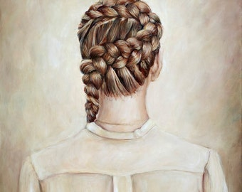 Dutch Braid - 8x10 Print - Fine Art Painting Reproduction - Hair Braid Painting Print Back