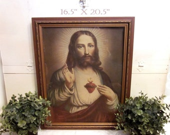 Antique Sacred Heart of Jesus Framed Art Print, carved wood frame. Serene face. Large vintage Catholic decor. Stand alone or Gallery Wall