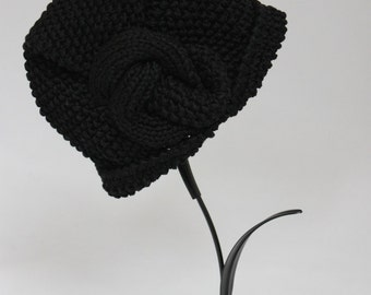 Handknitted Cloche Black Cotton Women Hat Art Deco Hat