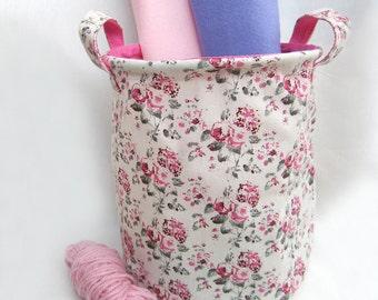 Pink Rose Garden Fabric Basket. Cottage Chic Floral Fabric Basket. Children Storage Fruit Basket