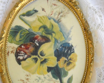 Circa 1900 Pansy Painting on Celluloid in Ornate Brass Frame