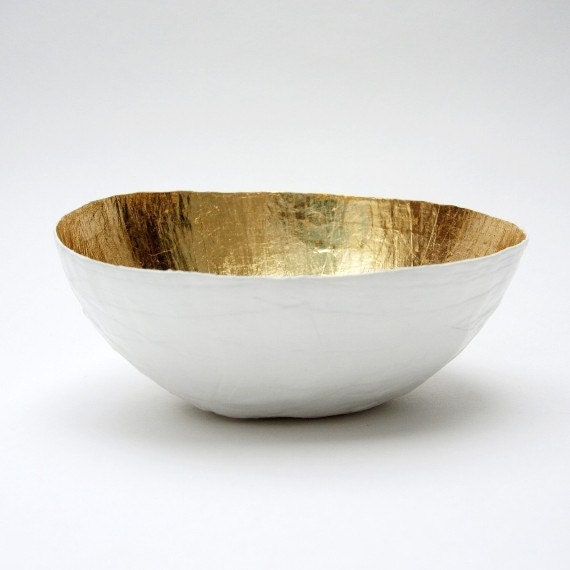 Paper Mache Bowl, White and Gold, Gold Decor, Gold Bowl, Paper Bowl, Paper Art, Paper Mache, Table Decor, Wedding Decoration