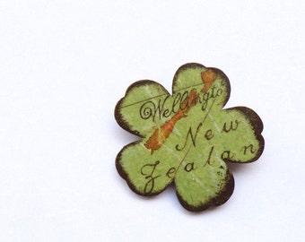 New Zealand decoupage flower brooch