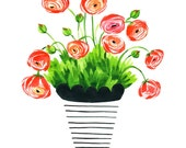 Modern Floral Illustration- Ranunculus
