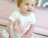 Girls Pale Pink and Gray Easter Bunny Shirt