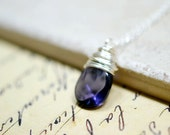 Deep Purple Necklace, Eggplant Purple Wire Wrapped Briolette Necklace, Dark Purple Pendant, Silver Chain, Amethyst Purple Briolette Jewelry