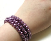 Purple Pearl Bracelet Set of 3, Stretch Pearl Bracelet, Violet Elastic Bracelet