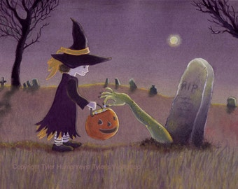Funny Halloween Card Witch Graveyard Full Moon Origanal Handmade Watercolor Greeting Card