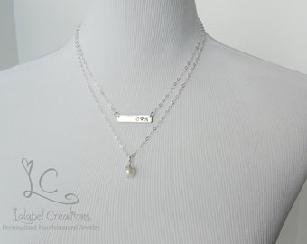 Celebrate Love Necklace, Anniversary Personalized Necklace, Hand Stamped Necklace, Wedding Gift Necklace, Set of 2 Layered Necklaces
