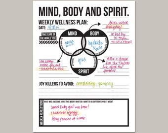 mind body spirit: weekly wellness plan - downloadable goal planning worksheet