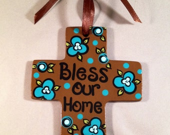 SALE - Hanging Cross - Shimmery Brown with Aqua Flowers - Bless Our Home