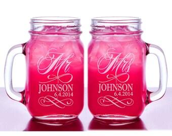 Mr and Mrs Personalized Wedding Mason Jars Set of 2 Engraved His Hers Weddding Gift Favor Idea Newlyweds Jar Handle Mug Glasses