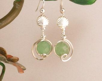 Green Aventurine Sterling Silver Shell Drop Earrings, Green Stone Beach Ocean Earrings