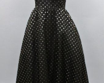 Vintage DRESS Black Metallic Net Rockabilly Party Dress 50's