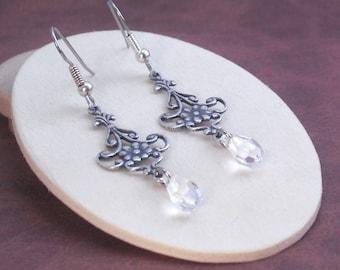 Earrings Antique Silver Filigree Fleur de Lis Crystal Briolette Dangle Earrings, Crystal Drop Earrings