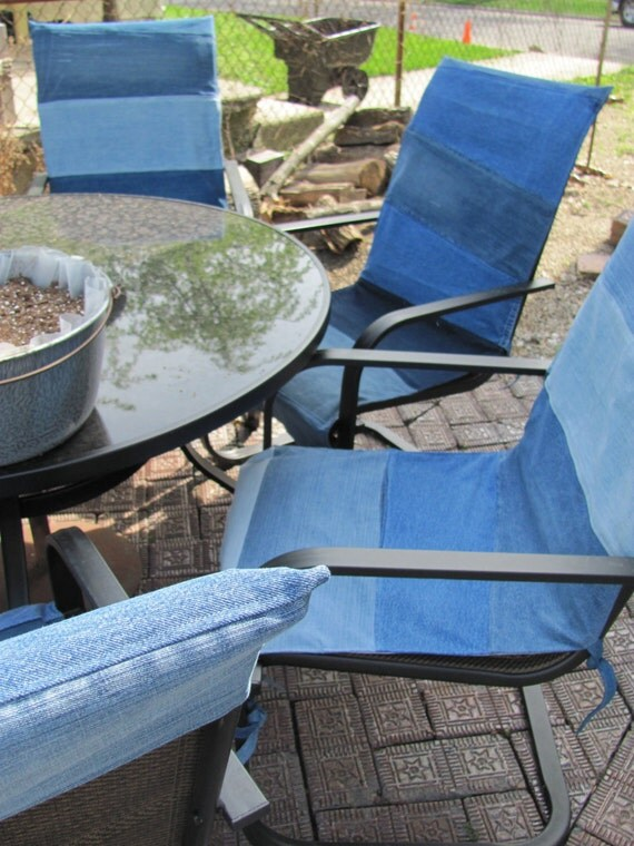 Items similar to Denim Patio Chair covers Custom fit summer living on Etsy