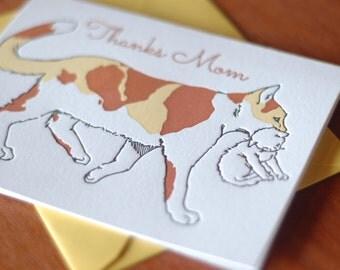 Thank You Mother Feline Letterpress Card