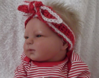 Newborn up to 6 Month....3 Sizes....Red & White KNOTTED Headband...Custom Colors Welcomed..Suitable all year...Perfect Gift...Just Adorable