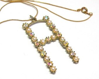"""Personalized Letter """"H"""" Gold Pendant in Pave Set Pearl & AB Crystal Motif - Retro 40s Necklace Costume Jewelry"""