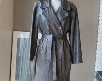 Cocoa brown leather trench coat vintage 90s spy coat artsy kid Leather Distressed Leather Jacket