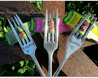 Garden Markers, Vintage Silverware, Tomato and Basil, Plant Tag Holders, Set of 3, Hand Stamped, Gardener Gift, Spoon Marker, Label Holder