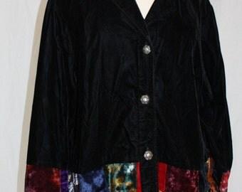 1990's Velvet Jacket Black Colored Patchwork Size 2X Boho Vintage REtro 90s Lined
