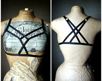Gothica black harness top, cage bra, criss cross straps goth lingerie