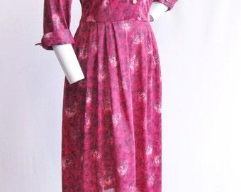 "1950's Magenta Printed Shirtwaist Dress NWT 31"" Waist"