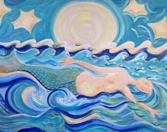 Mermaid, Belly of the Sea -original painting