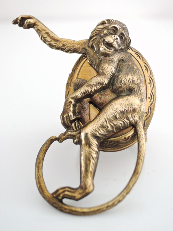 Vintage Ring - Locket Ring - Monkey Ring - Monkey Jewelry - Statement Ring - Adjustable Ring - Vintage Brass Jewelry - handmade jewelry