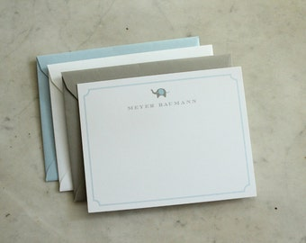 personalized baby boy / little boy notecards or thank you cards - blue and grey elephant