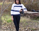 vintage white and blue striped sweater 3/4 sleeve small