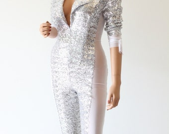 Catsuit Silver Sequin Cosplay Costume Fashion Bodysuit - CHRISST