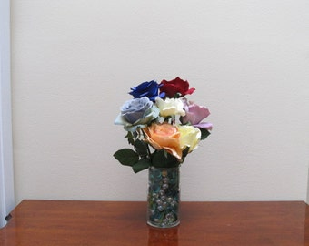 Multi-colored Roses in Glass Vase