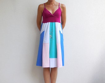 Women's TShirt Dress Summer Dress Cotton Dress Upcycled Tee Dress Pink Blue Gray Aqua Raspberry Azure Recycled Cotton Dress ohzie