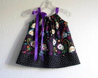 Baby Girls Day of the Dead Dress - Black Dress and Bloomers Outfit -  Infant Sugar Skull Dress - Size Newborn, 3m, 6m, 9m, 12m or 18m