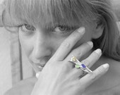 Eccentric Multi Gemstone Ring, Sterling Silver Big Ring with Amethyst Citrine and Peridot, Avant-Garde Jewelry, Wearable Art, High Fashion