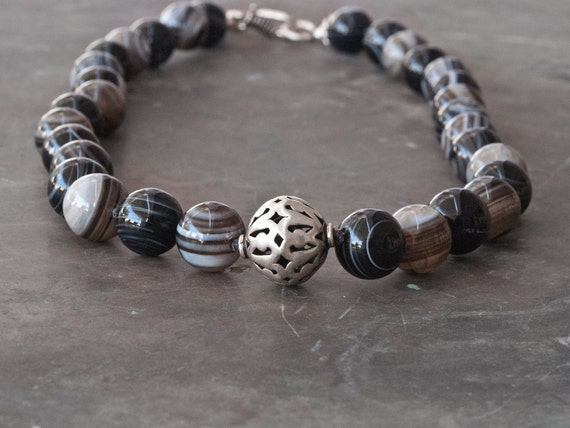 Madagascar Striped Agate Necklace, Chunky Black & White Gemstone Knotted Necklace, Sterling Silver Adorned, Fine Greek Contemporary Jewelry