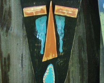 Tiki Man, Wood Sculpture,Tiki Mask, Primitive Wall Hanging, Rustic Beach House, Tiki Bar