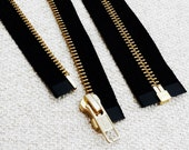 18inch - Black Metal Zipper - Gold Teeth - Open End - 2pcs
