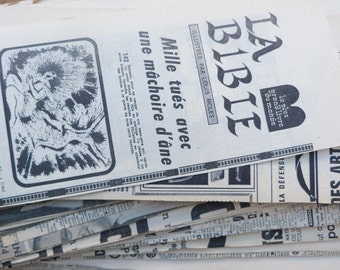 BIBLE 1960s Newspaper pages - Bible Pages from recylced French newspapers - French religious vintage collectible