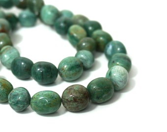 African Jade nugget beads, natural green gemstone, full & half strands available  (862S)