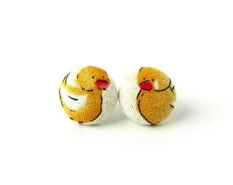 Cute chicken earrings -  small duck earrings for kids - tiny kawaii earrings - children yellow white hen cock