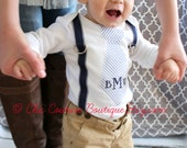 Baby Boy Baby Blue Seersucker Personalized Tie and Suspenders Bodysuit.  Wedding, Birthday, Nautical Tie, Valentine's Day, Easter outfit